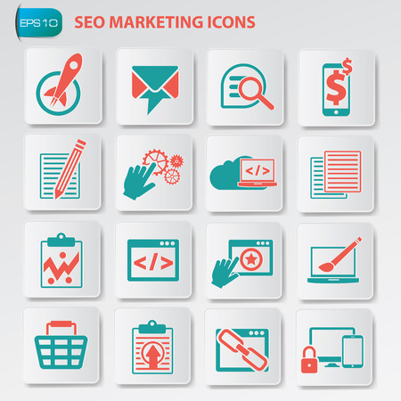 SEO marketing,development and optimization icons on button,clean vector