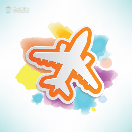 fixed wing aircraft: Airplane design,water colour design,clean vector