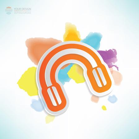 earphone: Earphone design,water colour design,clean vector