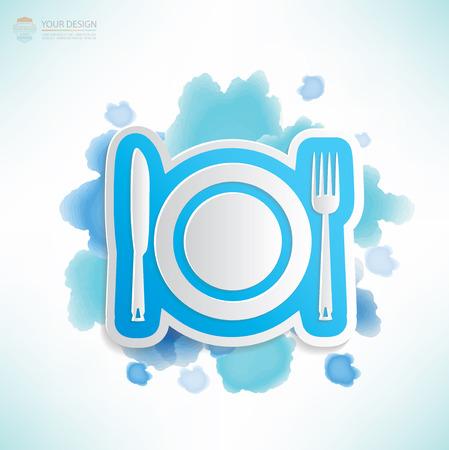 Dish design,water colour design,clean vector Vector