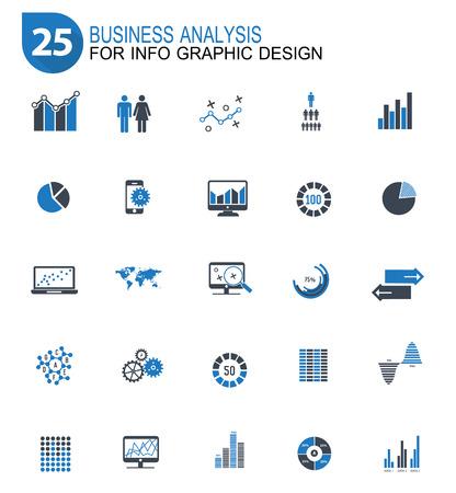 25 데이터 분석 디자인 아이콘 세트, 블루 버전, 깨끗한 벡터