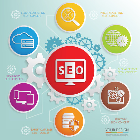 consultancy: SEO and business marketing design info graphic,clean vector