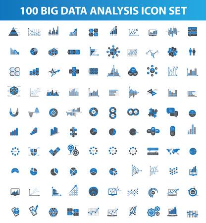 Big data, data-analyse icon set design iconen voor info grafisch, schoon vector