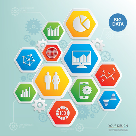 Big data and business analysis design info graphic,clean vector Illustration