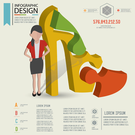 businessman shoes: Puzzle info graphic design,Three dimension design,clean vector
