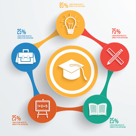 Education concept info graphic design on white background,clean vector