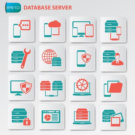 データベース サーバーのアイコン ボタン、きれいなベクトルを設定  イラスト・ベクター素材
