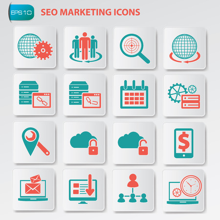 SEO marketing,development and optimisation icons on button, clean vector Vector