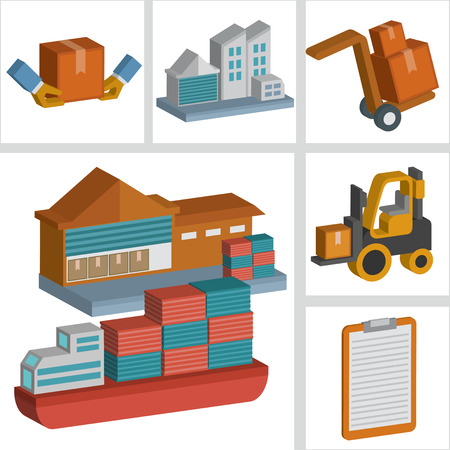 three dimension: Boat and logistic icons design,three dimension,clean vector Illustration