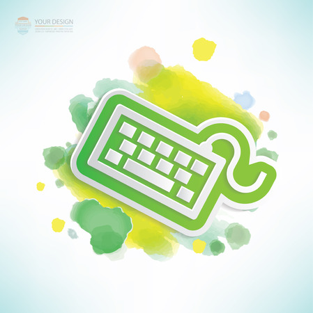 put the key: Keyboard design,water colour design,clean vector