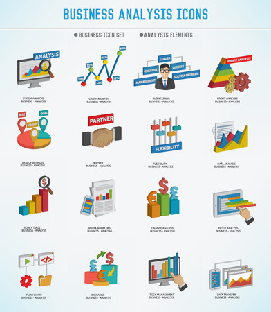 three dimension: Business Analysis concept icons,three dimension design,Clean vector