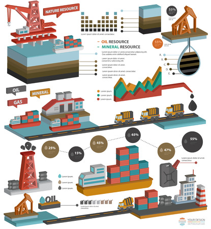 oil and gas industry: Oil,Gas industry,Mineral resource design for info graphic design on white background,three dimension design,clean vector Illustration
