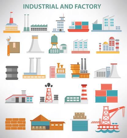 industriales: Diseño de conjunto de iconos Industrial, limpio vector Vectores