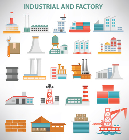 building industry: Industrial icon set design,clean vector