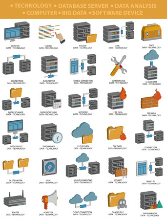 computer repair: Database server,Data analysis,File share,Cloud computing,Computer icons,Three dimension design,clean vector