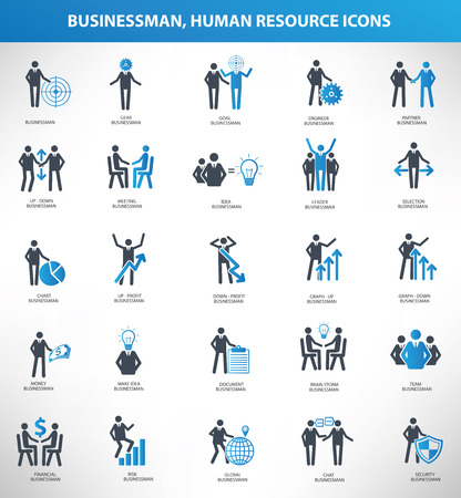 Businessman, Human resource icon set,blue version,clean vector