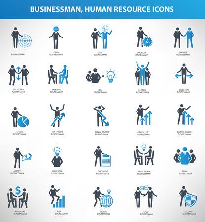 Businessman, Human resource icon set,blue version,clean vector