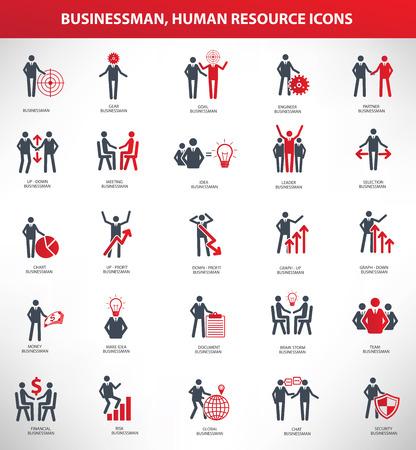 Businessman,Human resource icon set,red version