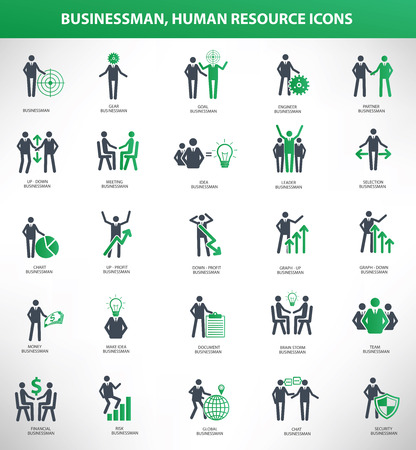 Businessman, Human resource icon set, green version, clean vector