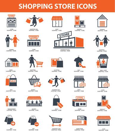 Shopping store icon set,orange version,clean vector Vector