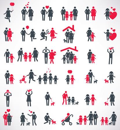 Familia feliz conjunto de iconos, diseño gente, versión roja, vector limpia Foto de archivo - 38561930