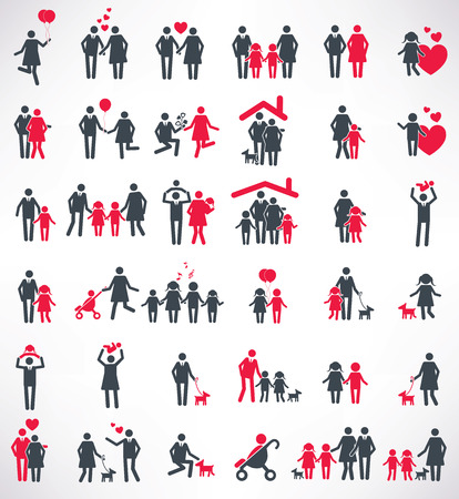 familias jovenes: Familia feliz conjunto de iconos, dise�o gente, versi�n roja, vector limpia
