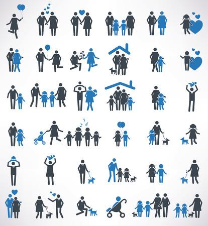 eltern und kind: Familien-Ikonen eingestellt, blaue Version, saubere Vektor Illustration