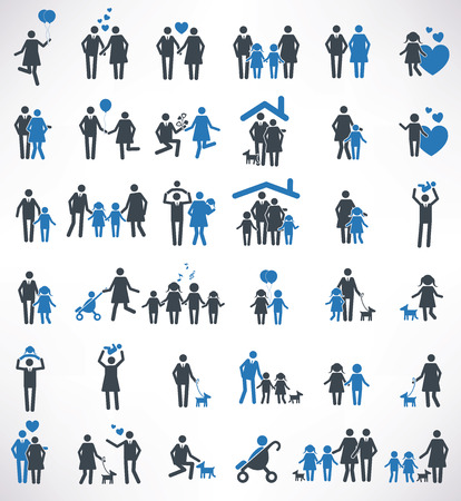 parent and child: Family icons set,blue version ,clean vector