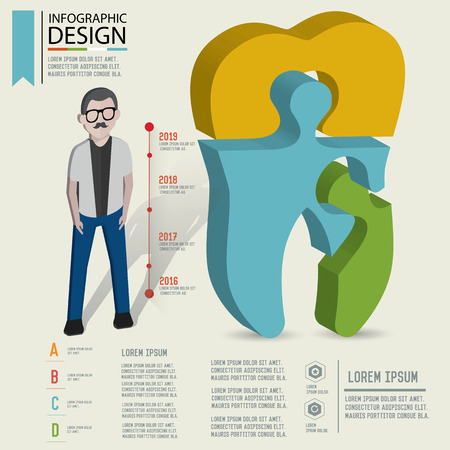 Puzzle info graphic design,Three dimension design,clean vector