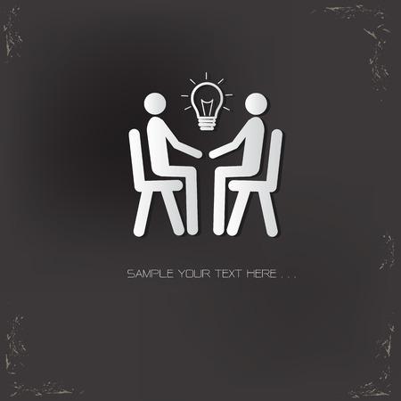 scriibble: Idea, human resource design on old background,vector