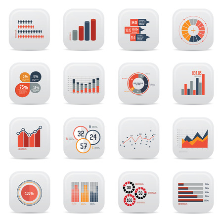 Business analysis icons on white background,clean vector