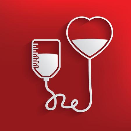 Doneren bloed ontwerp op rode achtergrond, schone vector