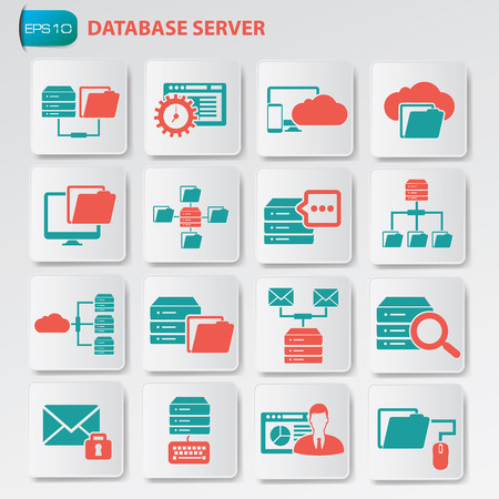 Database server icon set on clean button, vector