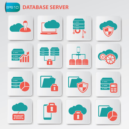 cylinder lock: Database and cloud computing icon on button, clean vector