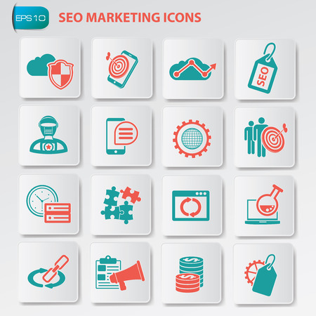 SEO marketing, development and optimisation icons on button, clean vector Vector