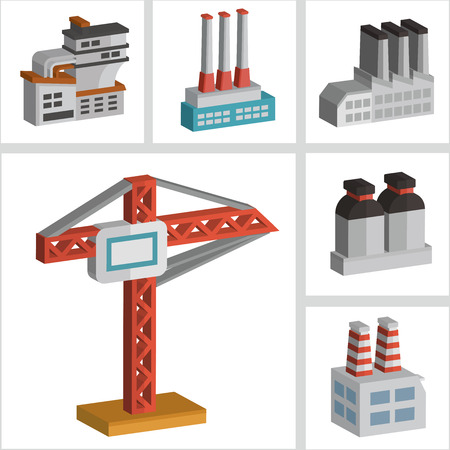 three dimension: Industry icons design,three dimension,clean vector
