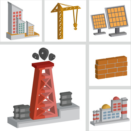 Oil and industry icons design,three dimension,clean vector Vector