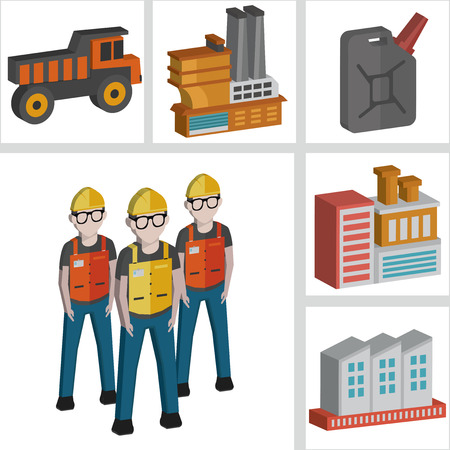 dimension: Engineering and factory icons design,three dimension,clean vector Illustration
