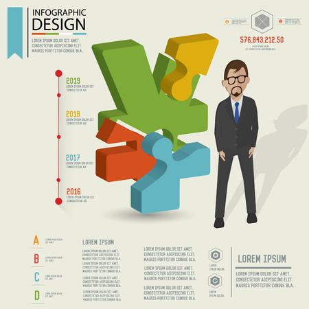 dimension: Puzzle info graphic design,Three dimension design,clean vector