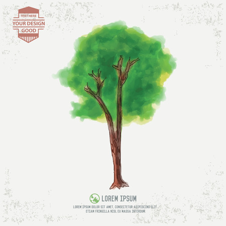 square root: Tree design water color concept Illustration