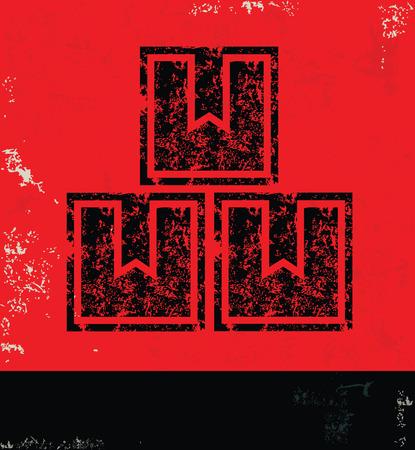 Box design on red backgroundgrunge vector Vector