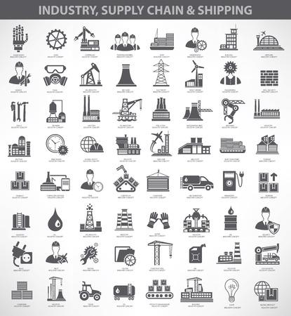産業・建設・ エンジニア リングのアイコン セット、ブラック バージョン、きれいなベクトル