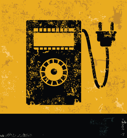 power meter: Power meter design on yellow backgroundgrunge vector Illustration