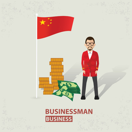 old background: China flag and businessman design on old background clean vector.