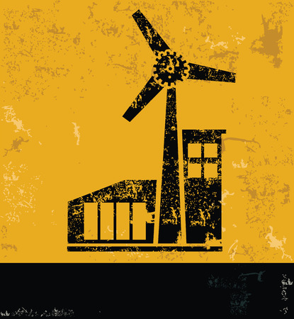 windfarm: Wind turbine design on yellow backgroundgrunge vector Illustration