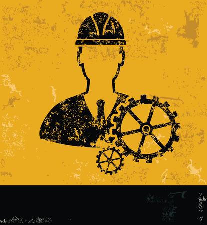 pied   � coulisse: Conception EngineeringIndustry sur le vecteur de backgroundgrunge jaune