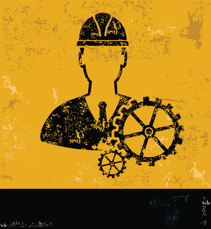 calliper: EngineeringIndustry design on yellow backgroundgrunge vector