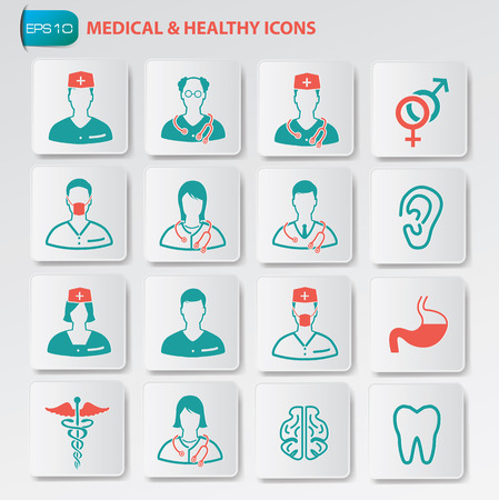 medical professional: Medical and healthy icon set on buttonsclean vector