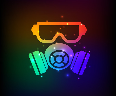 chemical warfare: Mask industry design on rainbow concept backgroundclean vector