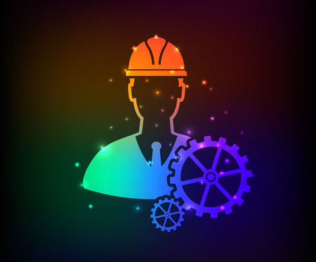 draftsman: Engineering design on rainbow concept background clean vector